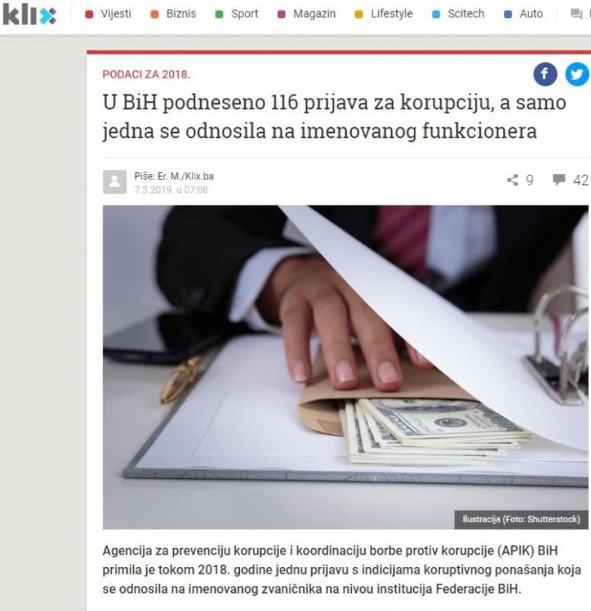 U BiH podneseno 116 prijava za korupciju, a samo jedna se odnosila na imenovanog funkcionera