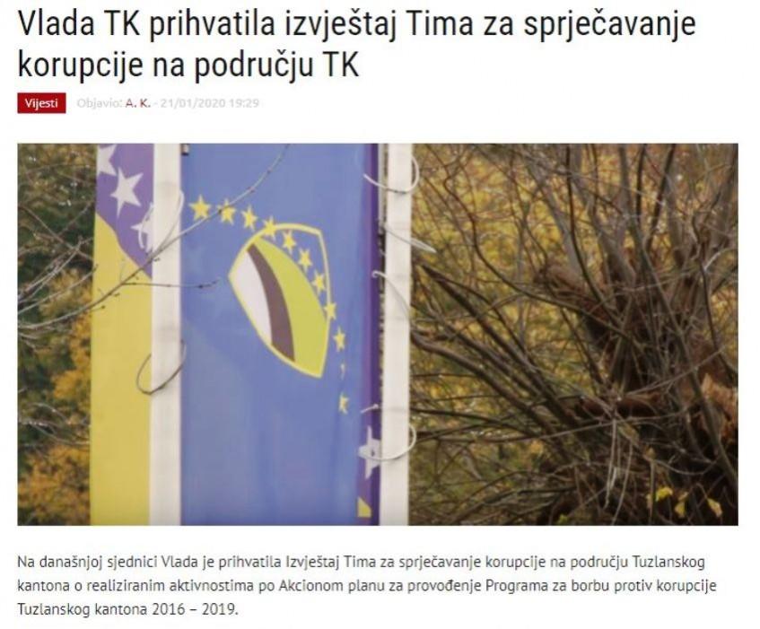 Vlada TK prihvatila izvještaj Tima za sprječavanje korupcije na području TK