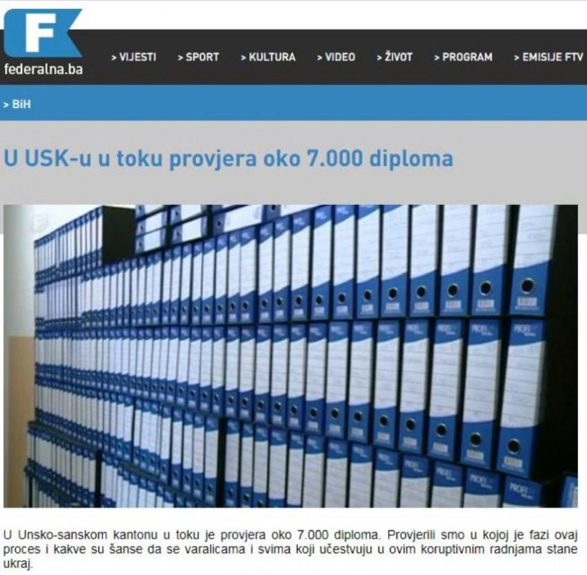 U USK-u u toku provjera oko 7.000 diploma