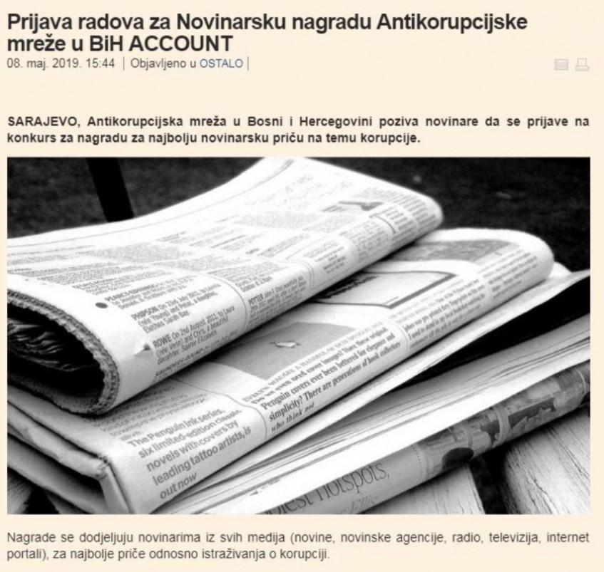 Prijava radova za Novinarsku nagradu Antikorupcijske mreže u BiH ACCOUNT