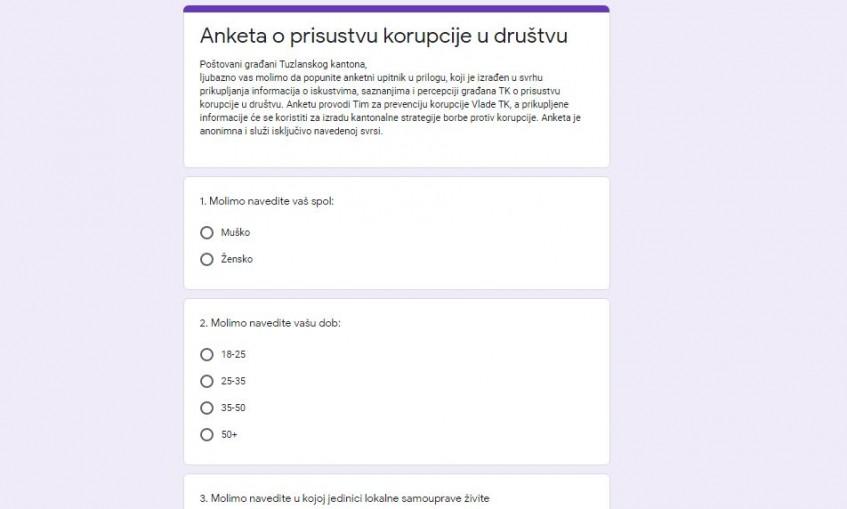 TK: Online anketa o percepciji prisustva korupcije u društvu