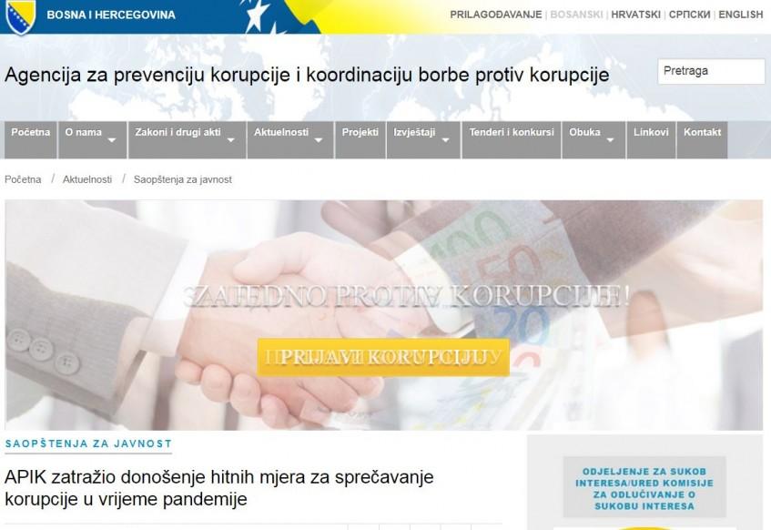 Pet kantona usvojilo antikorupcijske planove za djelovanje tokom epidemije