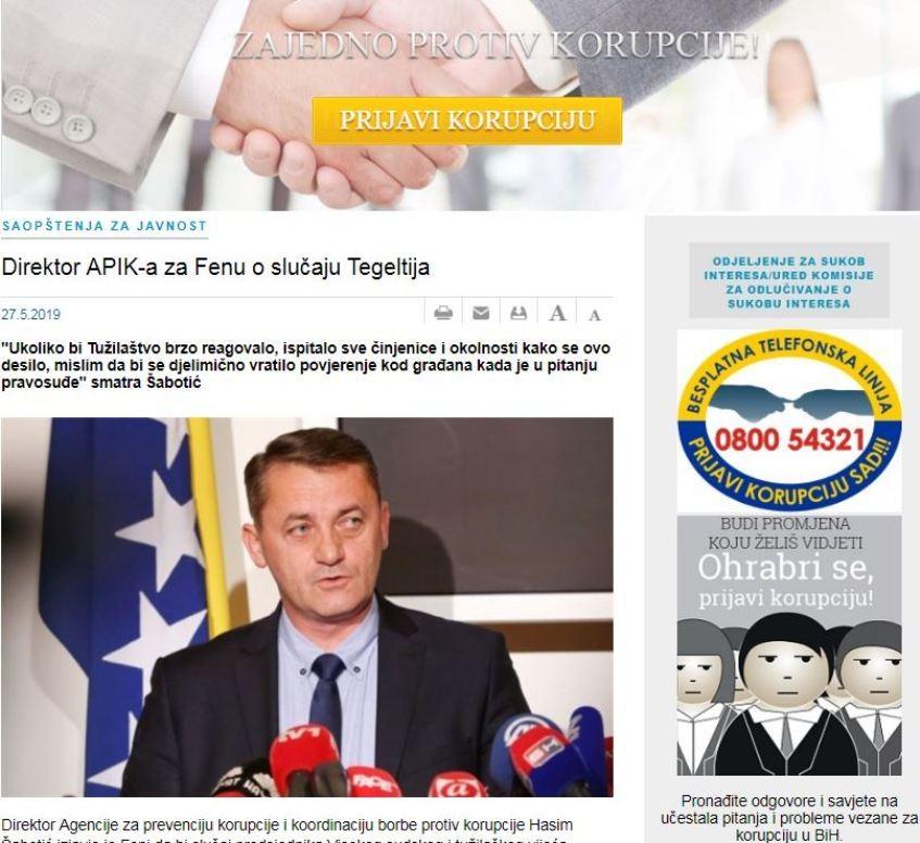 Šabotić: Slučaj predsjednika VSTV-a treba istražiti Tužilaštvo BiH