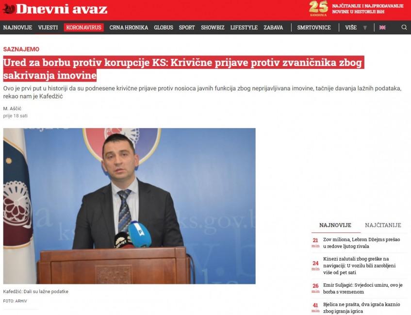 Ured za borbu protiv korupcije KS: Krivične prijave protiv zvaničnika zbog sakrivanja imovine