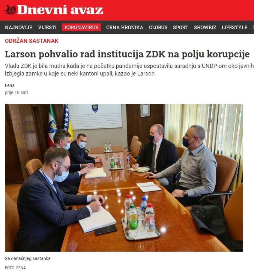 Larson pohvalio rad institucija ZDK na polju korupcije