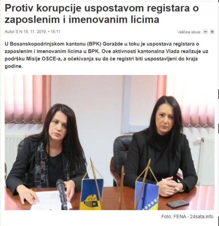 Protiv korupcije uspostavom registara o zaposlenim i imenovanim licima