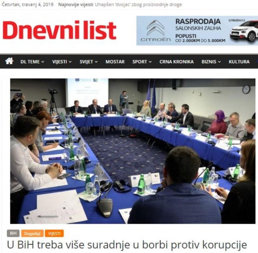 U BiH treba više suradnje u borbi protiv korupcije