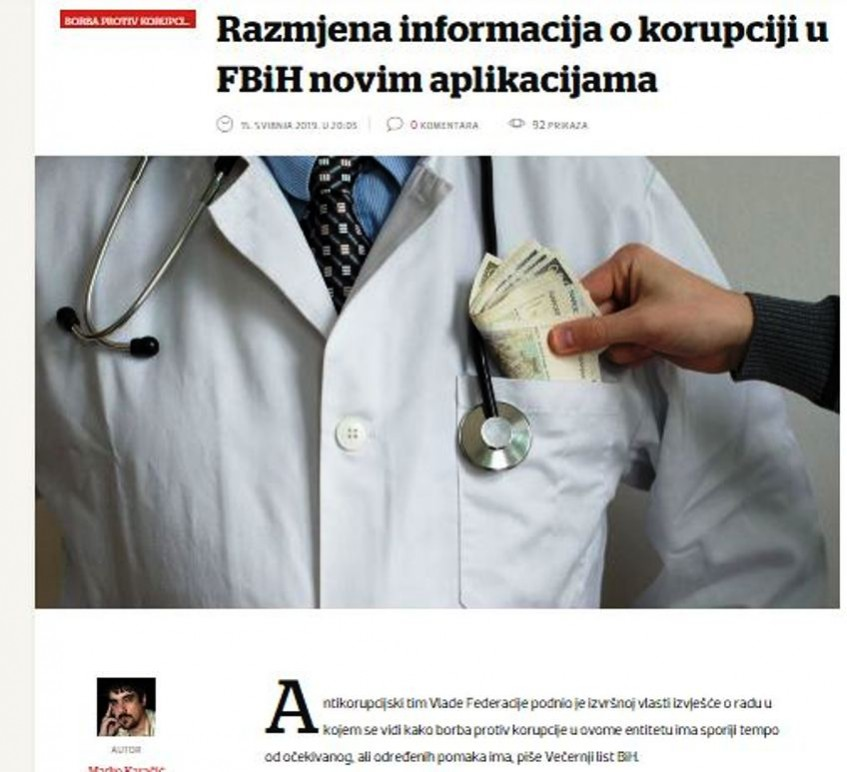 Izvještaj o radu Antikorupcijskog tima Vlade Federacije BiH