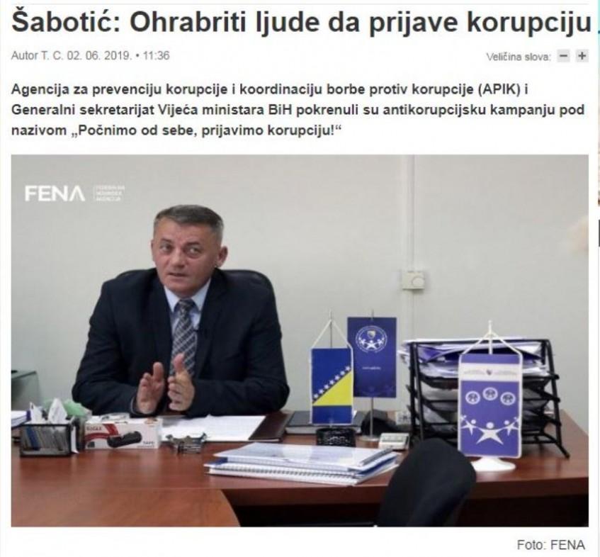 Šabotić: Ohrabriti ljude da prijave korupciju