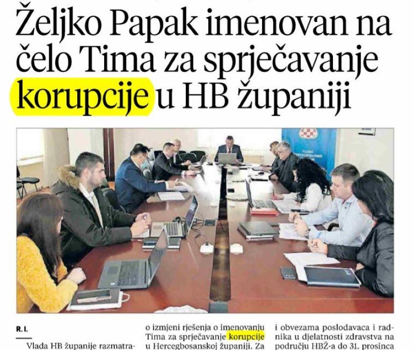 Željko Papak na čelu Tima za sprječavanje korupcije u HB županiji - Kantona 10
