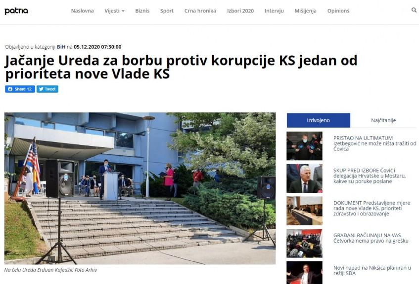 Jačanje Ureda za borbu protiv korupcije KS jedan od prioriteta nove Vlade KS
