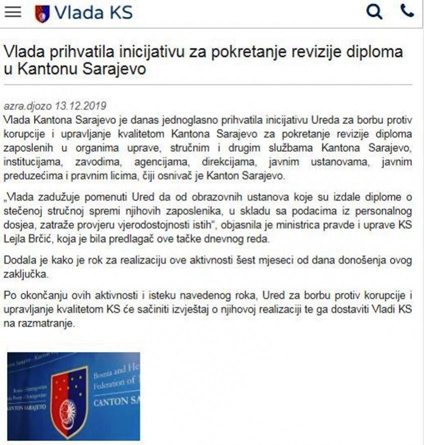 Kreće revizija diploma u Kantonu Sarajevo