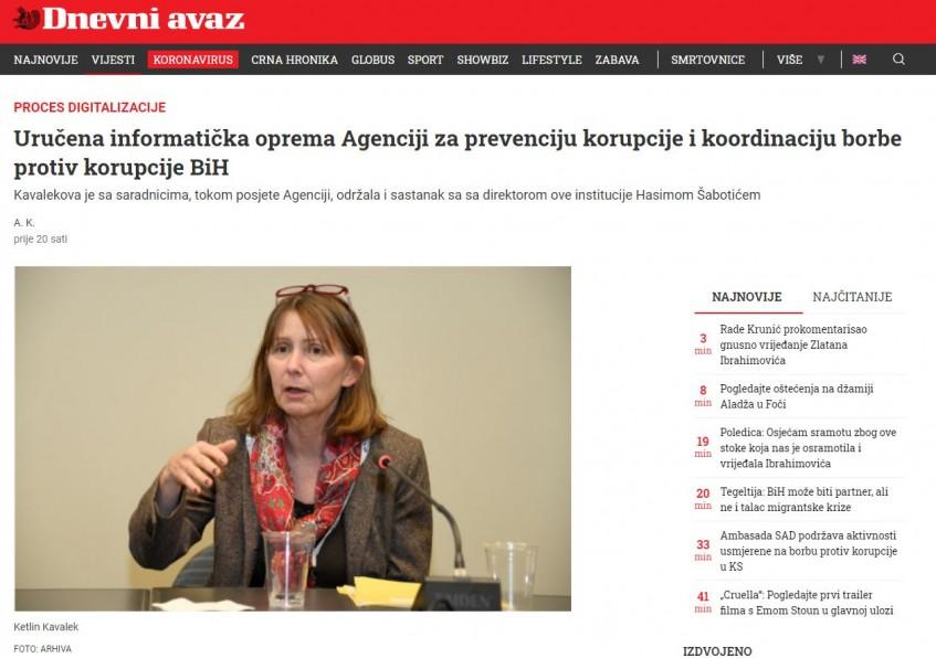 Uručena informatička oprema Agenciji za prevenciju korupcije i koordinaciju borbe protiv korupcije BiH