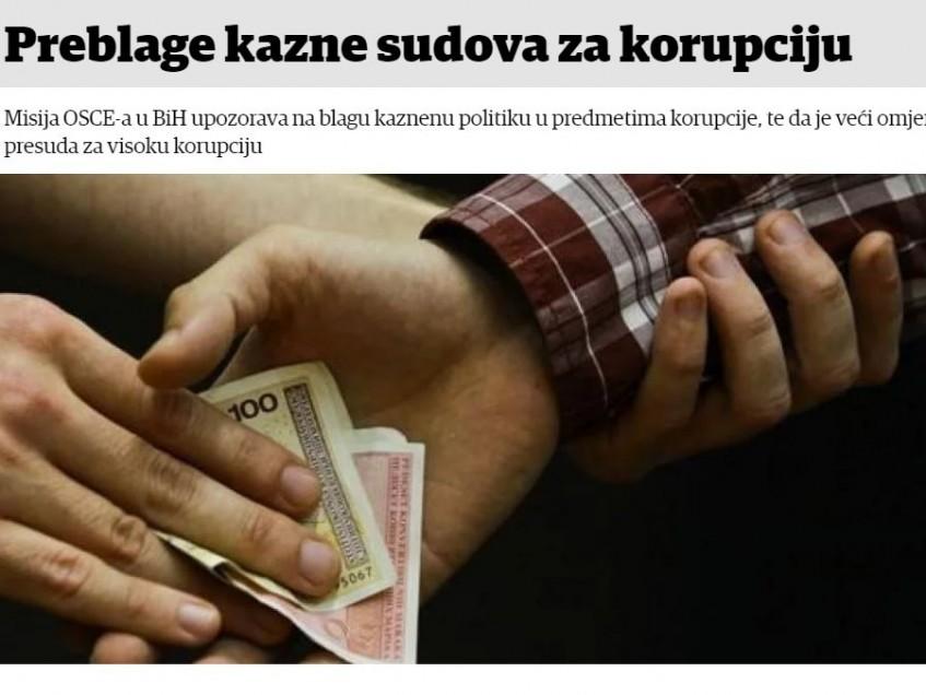 Preblage kazne sudova za korupciju
