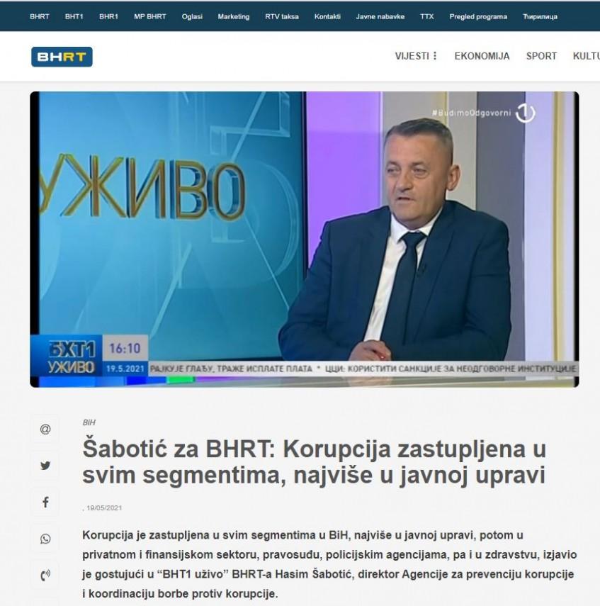 Šabotić za BHRT: Korupcija zastupljena u svim segmentima, najviše u javnoj upravi
