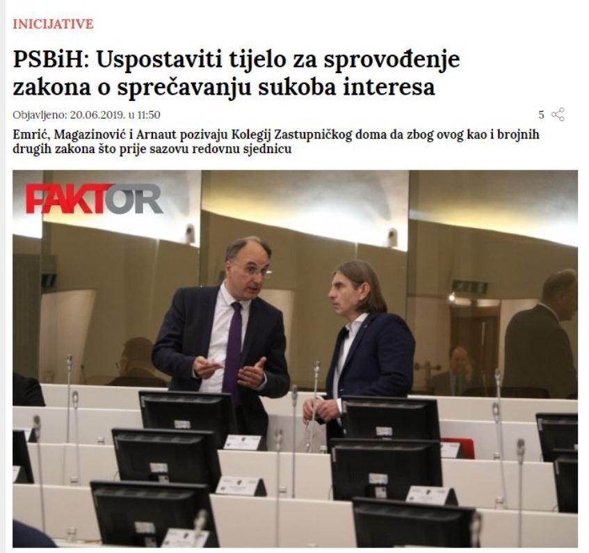 Predložen zakon o sprječavanju sukoba interesa u institucijama BiH