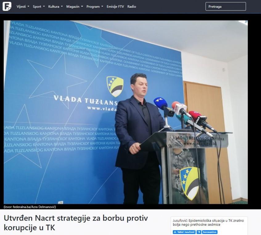 Utvrđen Nacrt strategije za borbu protiv korupcije u TK