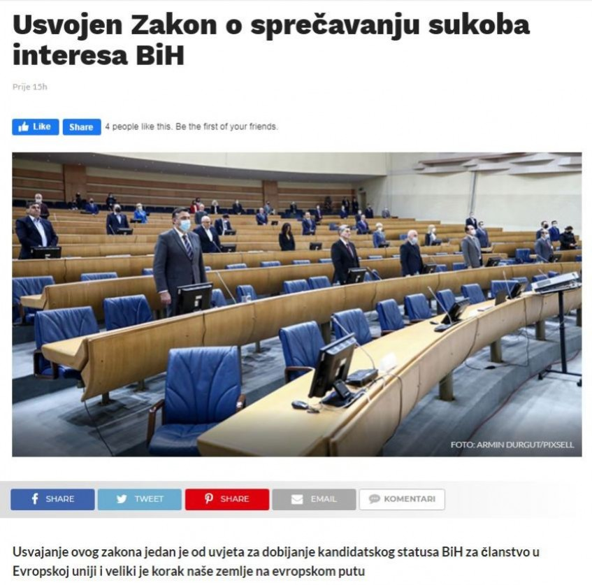Usvojen Zakon o sprečavanju sukoba interesa BiH