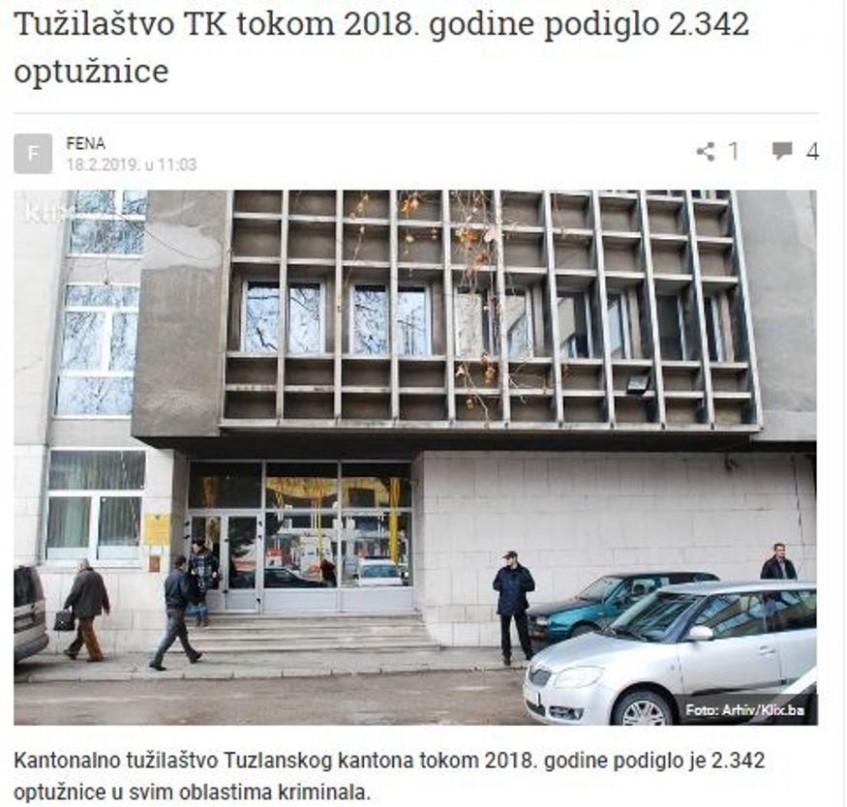 Tužilaštvo TK tokom 2018. godine podiglo 2.342 optužnice
