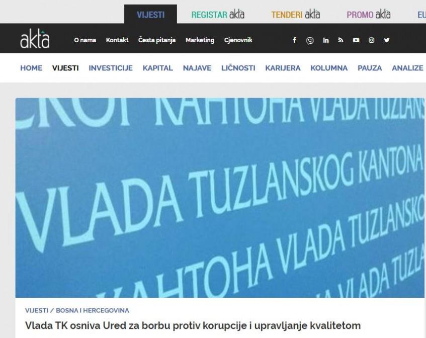 Vlada TK osniva Ured za borbu protiv korupcije i upravljanje kvalitetom