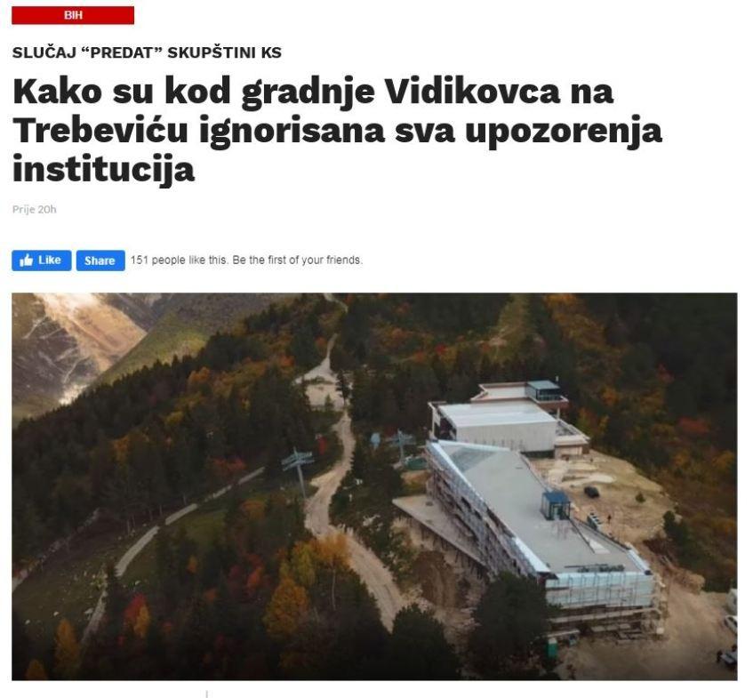 Izvještaj Ureda za borbu protiv korupcije KS o Trebeviću