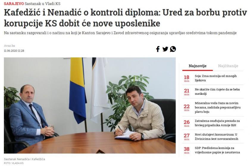 Kafedžić i Nenadić o kontroli diploma: Ured za borbu protiv korupcije KS dobit će nove uposlenike