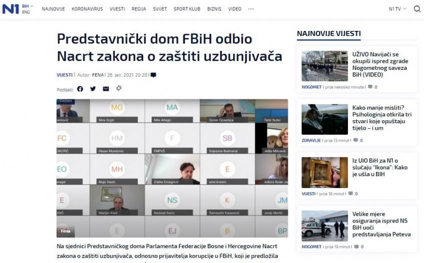 Predstavnički dom FBiH odbio Nacrt zakona o zaštiti uzbunjivača