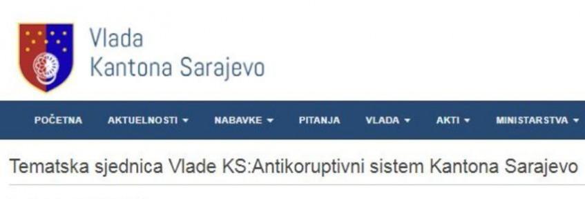 Tematska sjednica Vlade KS - Antikoruptivni sistem Kantona Sarajevo