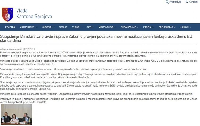 Ustavni sud FBiH proglasio neustavnim Zakon o provjeri imovine funkcionera u Kantonu Sarajevo