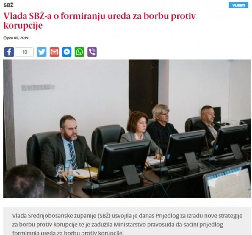 Formiranje Ureda za borbu protiv korupcije u SBK-SBŽ