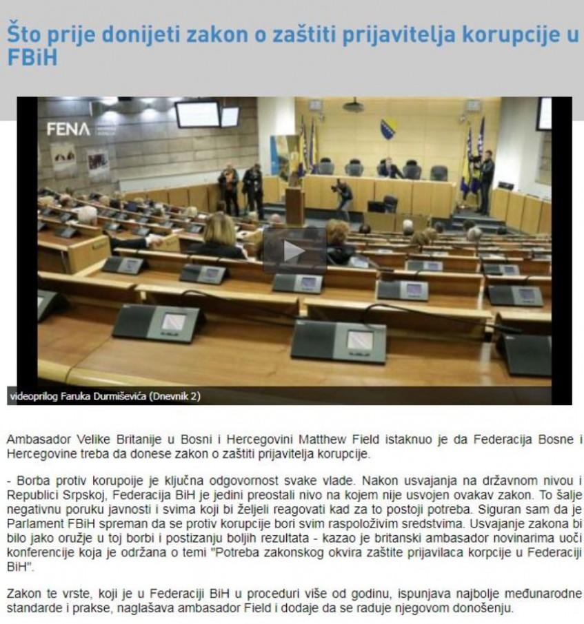 Što prije donijeti zakon o zaštiti prijavitelja korupcije u FBiH