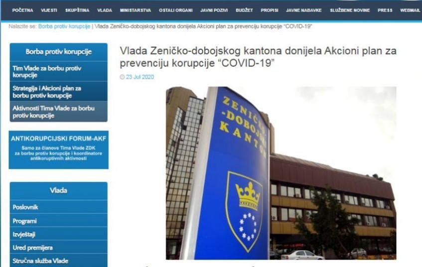 """Vlada Zeničko-dobojskog kantona donijela Akcioni plan za prevenciju korupcije """"COVID-19"""""""