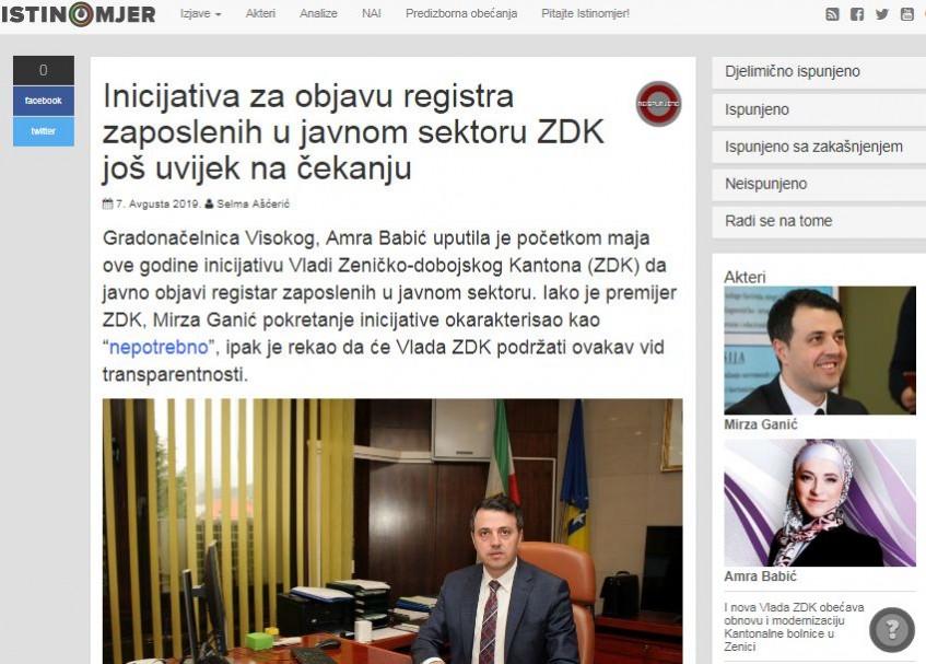 Inicijativa za objavu registra zaposlenih u javnom sektoru ZDK još uvijek na čekanju