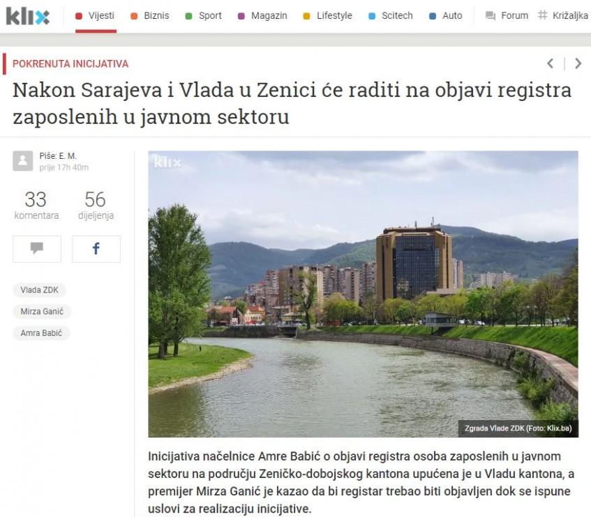 Nakon Sarajeva i Vlada u Zenici će raditi na objavi registra zaposlenih u javnom sektoru