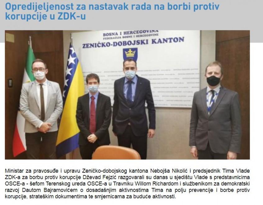 Ministar pravosuđa i predsjednik Tima Vlade ZDK za borbu protiv korupcije razgovarali s predstavnicima OSCE-a