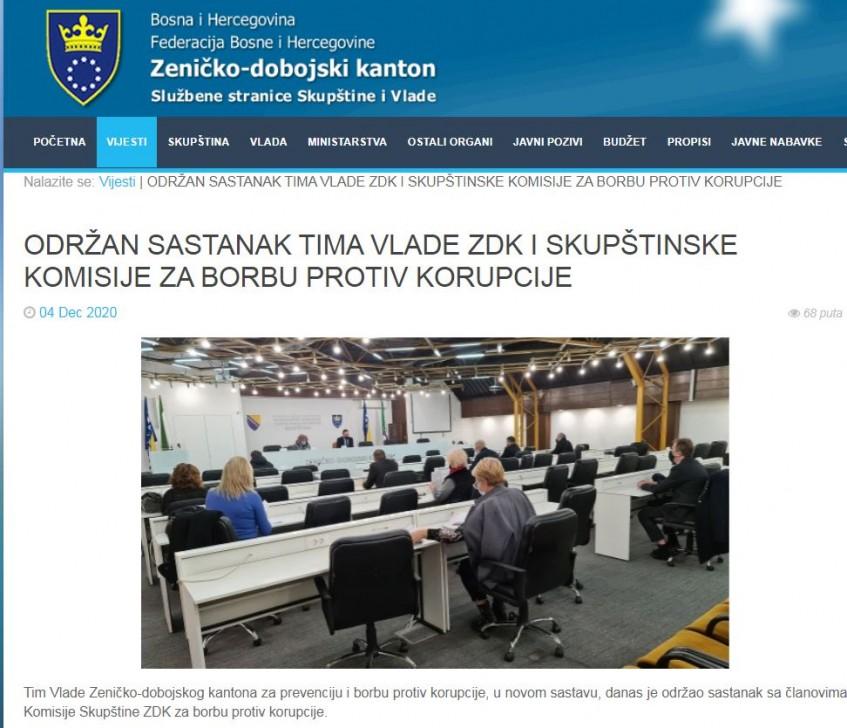 Institucionalno jačanje borbe protiv korupcije u ZDK-u