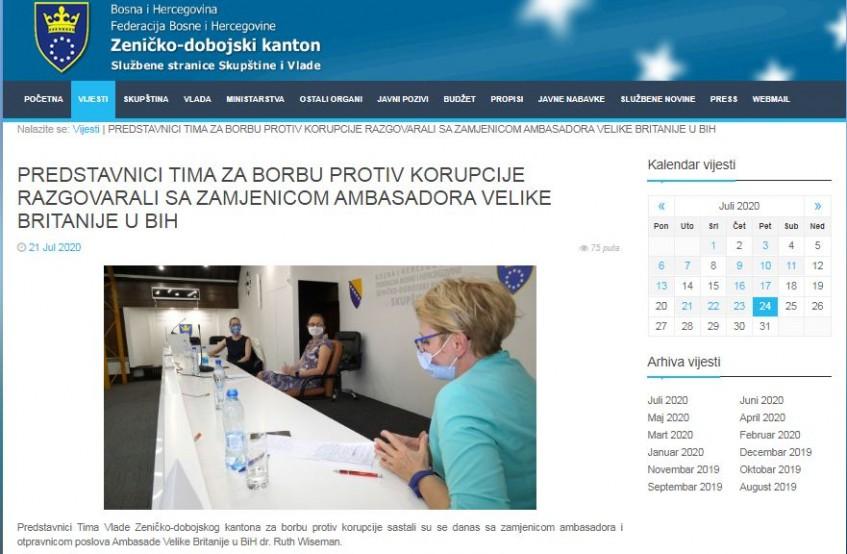Predstavnici Tima Vlade ZDK za borbu protiv korupcije sa zamjenicom ambasadora Velike Britanije