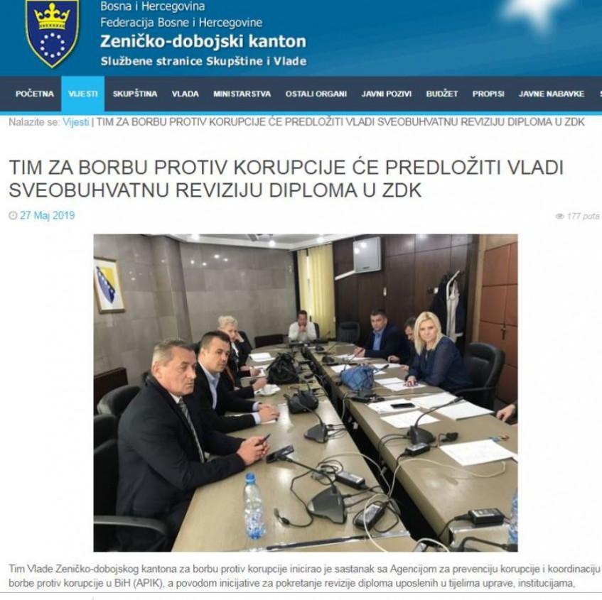 Revizija diploma zaposlenika u javnim institucijama u ZDK